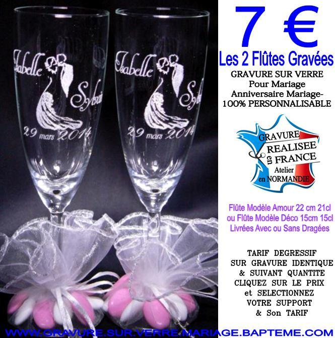 Extrem Cadeau mariage à 1.48€-Gravure sur verre MARIAGE-Flûte gravée  FN13