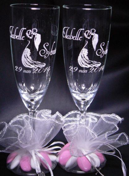 flte champagneflute champagne gravepersonnaliseverre gravmariage - Dragee Original Pour Mariage