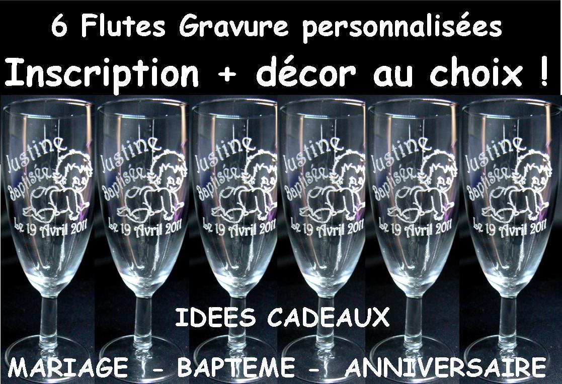 flute gravure personnalise pour mariage bapteme communion anniversaire naissance cadeaux pas cher - Gravure Sur Verre Mariage Bapteme