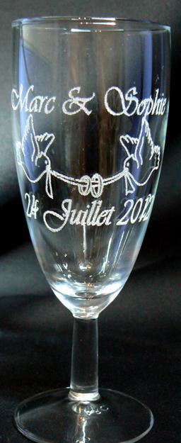 Top Gravure sur verre-Verre gravé-Flûte à champagne gravée à 1.48  HF73